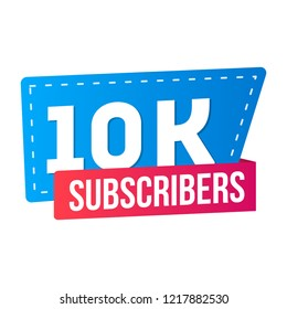 10000 10 ten thousands subscribers on social media and video streaming website banner