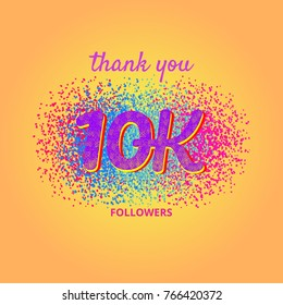 10000 followers card. Thank you 10K followers banner with frame on bright  background. Simple vector illustration.