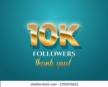 10000 followers celebration vector banner with text. Social media achievement poster. 10k followers thank you lettering. Azure template. Shiny gratitude text on red gradient backdrop