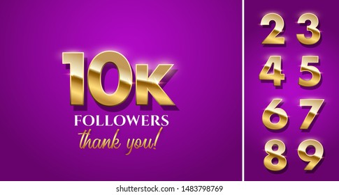 10000 followers celebration vector banner with text and numbers set. Social media achievement poster. 10k followers thank you lettering on purple background.