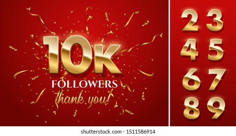 10000 followers celebration vector banner with text and numbers set. Social media achievement poster. 10k followers thank you lettering. Golden sparkling confetti ribbons.