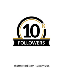 10000 followers and friends, 10K anniversary congratulations design banner template. Black and gold vector illustration.