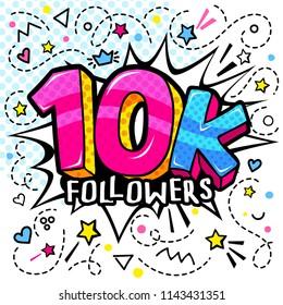 10000 followers illustration in pop art style. Vector illustration