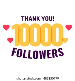 10000 followers, thank you with hearts. Flat vector icon design illustration on white background. Can be used business company for social media.