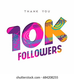 10000 followers thank you paper cut number illustration. Special 10k user goal celebration for ten thousand social media friends, fans or subscribers. EPS10 vector.
