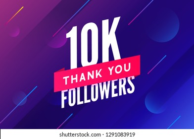 10000 followers vector. Greeting social card thank you followers. Congratulations 10k follower design template.
