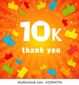 10000 followers vector illustration with thank you on pattern of colored likes. 10k thank you banner
