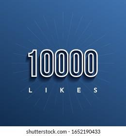 10000 Likes Vector Illustration Template Design