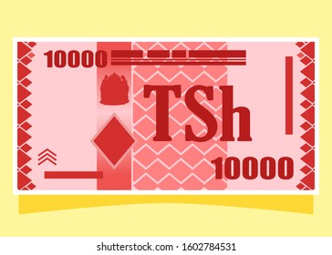 10000 Tanzanian Shilling TZS banknotes paper money vector icon logo illustration and design. Tanzania business, payment and finance element. Can be used for web, mobile, infographic, and print.