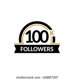 100000 followers and friends, 100K anniversary congratulations design banner template. Black and gold vector illustration.