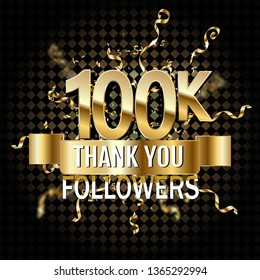 100000 followers thank gold illustration on transparent . A special celebration of the 100k user's goal for a hundred thousand friends, fans or followers on social networks.