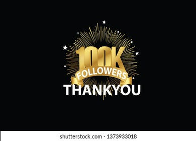 100K, 100000  Followers anniversary, minimalist logo years, jubilee, greeting card. invitation. Sign Ribbon Gold space vector illustration on black background - Vector