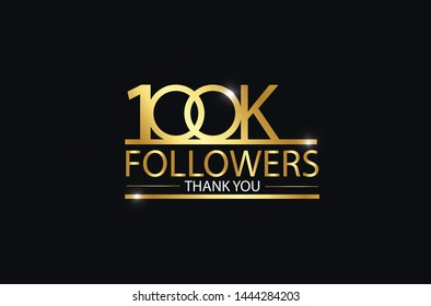 100K, 100.000 Followers celebration logotype. anniversary logo with golden and Spark light white color isolated on black background, vector design for celebration, Instagram, Twitter - Vector