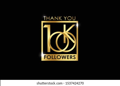100K, 100.000 Followers celebration logotype with golden Square and Spark light white color isolated on black background for social media - Vector