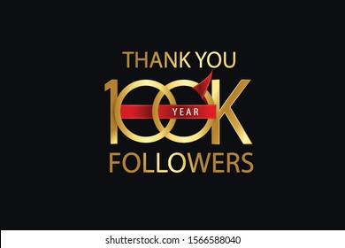 100k, 100.000 Followers celebration logotype. anniversary logo with golden and Spark light white color isolated on back background for social media - Vector