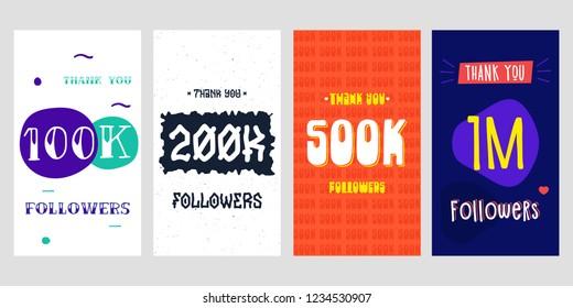 100k, 200k, 500k, 1m followers Social Media for story. Vector design
