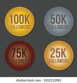 100K 75K 50K 25K Followers Gold Silver Copper Letter Sticker
