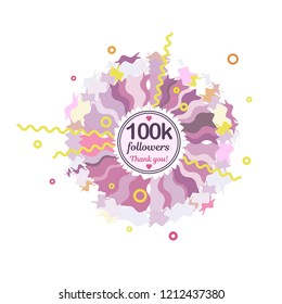 100k followers card banner template for celebrating many followers in on-line social media networks