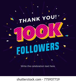 100k followers card banner template for celebrating many followers in online social media networks.