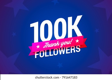 100k followers card. Vector illustration in gradient style.