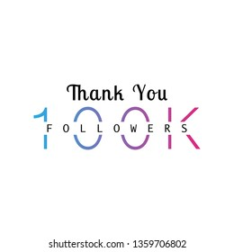 100K followers greeting. Emblem for social media.