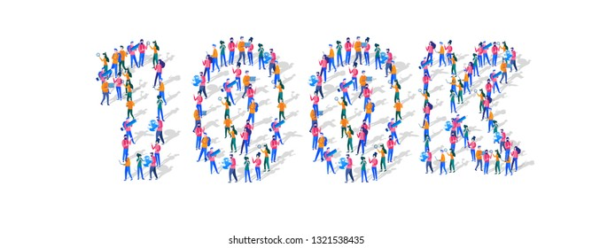 100K Followers Isometric Vector Concept, Group of business people are gathered together in the shape of 100000 word, for web page, banner, presentation, social media, Crowd of little people. teamwork