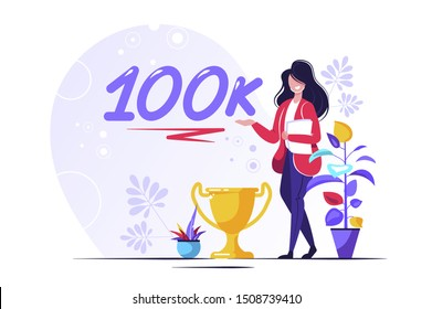 100K Followers Isometric Vector Concept, Group of business people are gathered together in the shape of 10000 word, for web page, banner, presentation, social media, Crowd of little people. teamwork