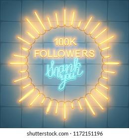 100k followers, social media banner, congratulation, celebration, vector illustration