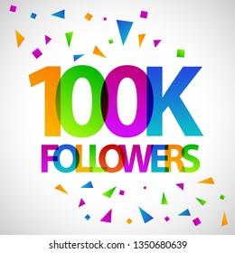 100k followers social media banner flat vector design template