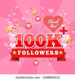 100K Followers and thank you banner background with heart bubble icons. Template for social media post. Vector Cover for your design.