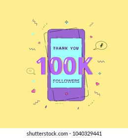 100K Followers thank you phrase with phone frame and random items. Template for social media.  Ultra violet palette colors. 100000 subscribers message. Vector illustration.