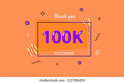 100K followers thank you post with decoration. 100000 subscribers horizontal banner with linear badge. Greeting card for social networks. Vector illustration.