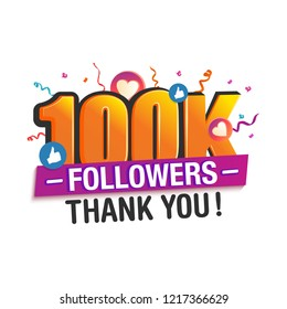 100K followers thank you post with decoration, for social media networks.