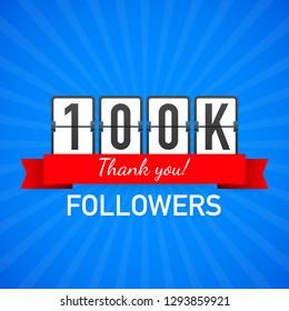 100k followers, Thank You,  social sites post. Thank you followers congratulation card. Vector stock illustration.