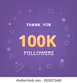 100K Followers thank you square banner with items round frame. Ultra violet palette colors. Element for graphic design. Template for social media post. 100000 subscribers. Vector illustration.