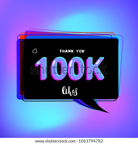 100 K Likes Thank You Card Template Stock Vector Royalty Free