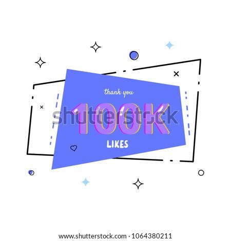 100k likes thank you card template for social media vector illustration