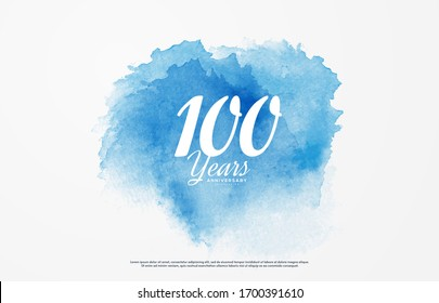 100th anniversary background with illustrations of white numbers and the writing below on a water color background.
