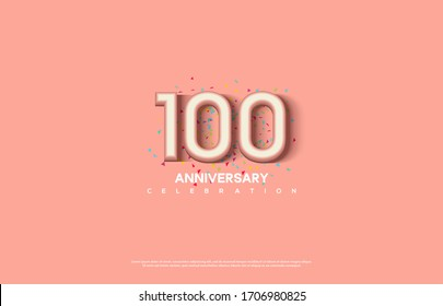 100th anniversary background with illustrations of white numbers and pink color on the edges of numbers.