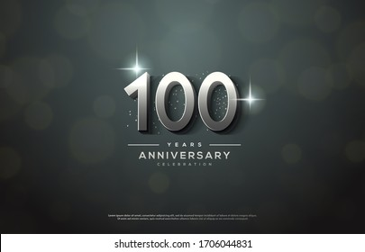 100th anniversary background number illustration with color effects and sparkling light behind.