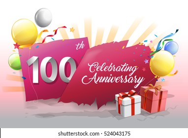 100th anniversary celebration with colorful confetti and balloon on red background with shiny elements. design template for your birthday party.