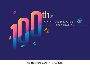 100th anniversary celebration with colorful design, modern style with ribbon and colorful confetti isolated on dark background, for birthday celebration