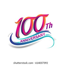 100th anniversary celebration logotype blue and red colored. one hundred years birthday logo on white background.
