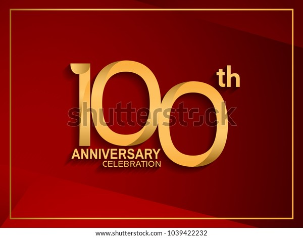 100th anniversary celebration logotype golden color isolated on red color