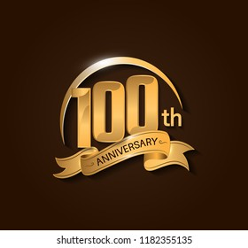 100th Anniversary design logotype. Anniversary logo design with swoosh and elegance golden ribbon. Vector template for use celebration, invitation card, and greeting card