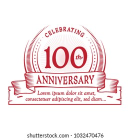 100th anniversary design template. Vector and illustration.