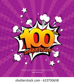 100th anniversary emblem. Hundred years anniversary celebration symbol