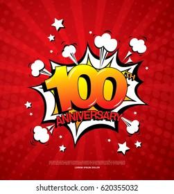 100th anniversary emblem. One hundred years anniversary celebration symbol