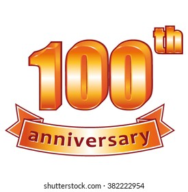 100th anniversary. Golden vector label.
