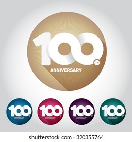 100th anniversary with an infinity symbol. Creative design. Mult-color badge on the whiteB background.
